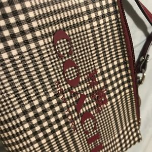 Coach Bags - Plaid Coach Wristlet (Black and Maroon)